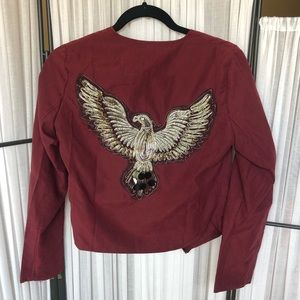 NWT Petite Emma bird badge suede jacket - burgundy